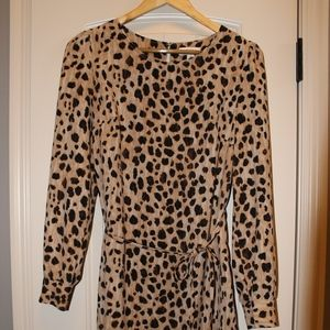 Leopard Animal  Belted Shift Dress size Med